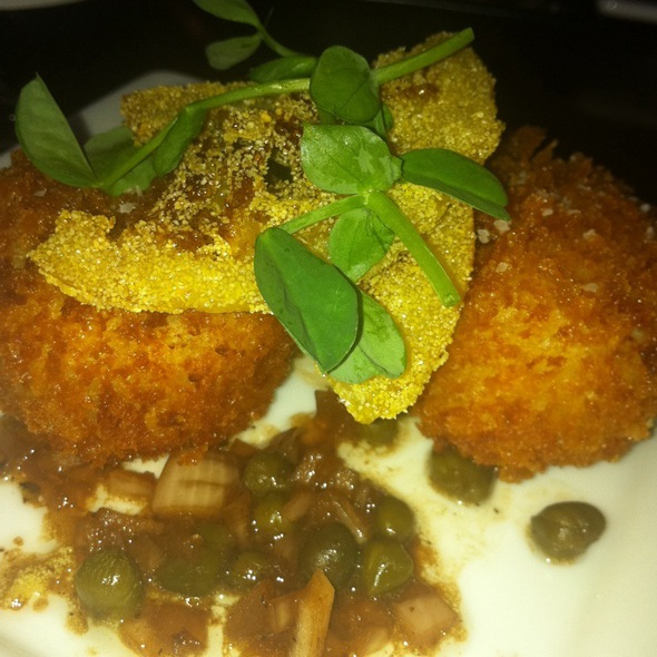 "Crispy Salt Cod ""Brandade"" Fritter W/ Capers And Candied Lemon"