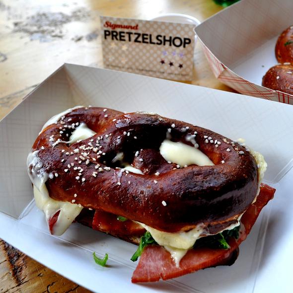 ham & cheese pretzel sandwich @ Sigmund Pretzelshop