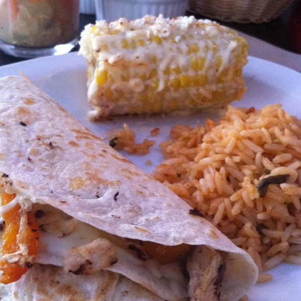 Chicken Bacon Pepper Quesadillas With Mexi Corn And Rice @ La Casita