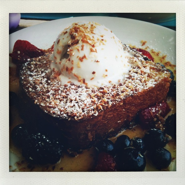 French Toast w/ Fresh Strawberries @ Perla's