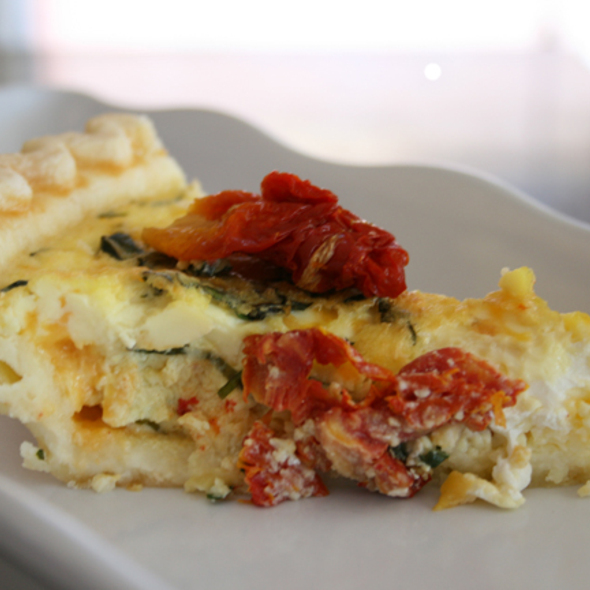 Sundried Tomato, Basil and Feta Quiche