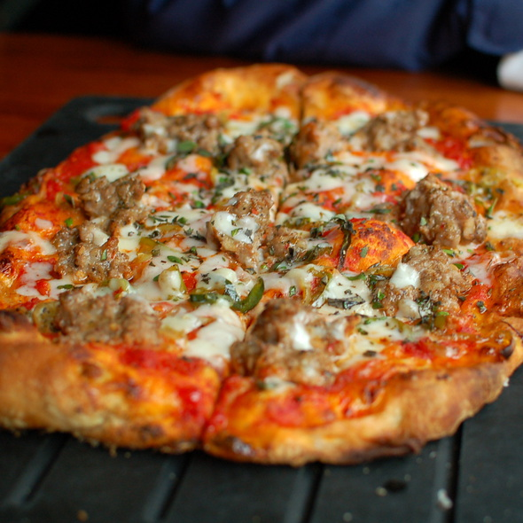 Pizza With Sweet Fennel Sausage, Roasted Peppers, Provolone  @ Serious Pie