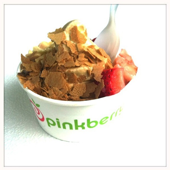Salted Caramel With Crispies, Toasted Almonds And Strawberries @ Pinkberry
