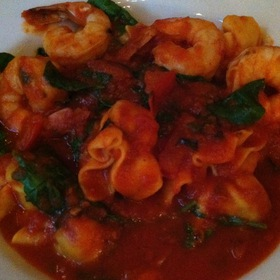 Pasta Pillows With Shrimp In A Spicy Tomato Sauce