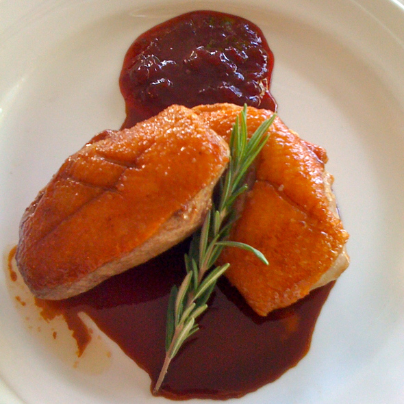Pan Seared Duck Breast with Rosemary Sauce and Lingonberries @ Harbor Haus Restaurant