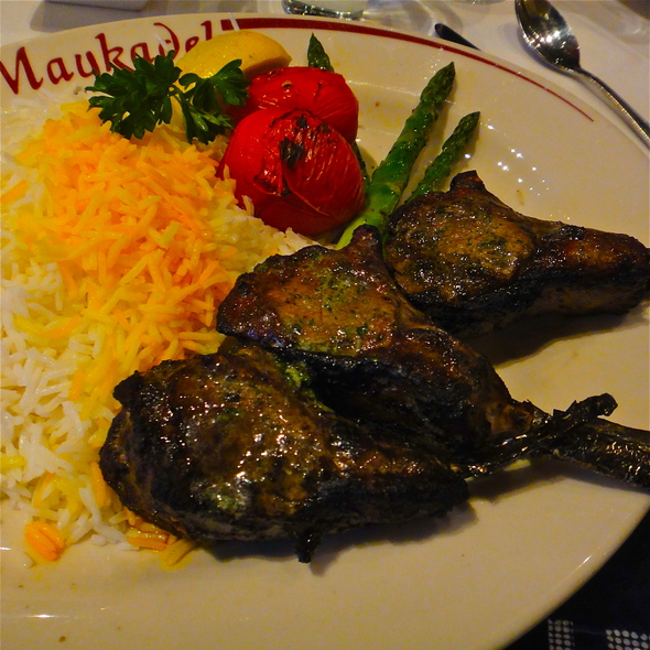 Shishlik - Rack of Lamb Chops, marinated w/basil, garlic, onion, lime juice, Basmati rice, grilled tomatos & asparagus - Maykadeh, San Francisco, CA