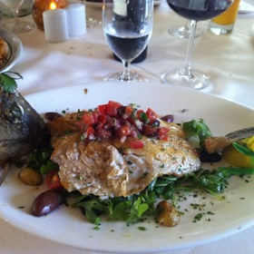 Mediterranean See Bass With Arugala/Cherry Tomato Salad