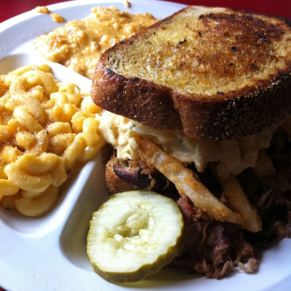 Pulled Pork Pittsburgh Sandwich @ Sticky Lips BBQ
