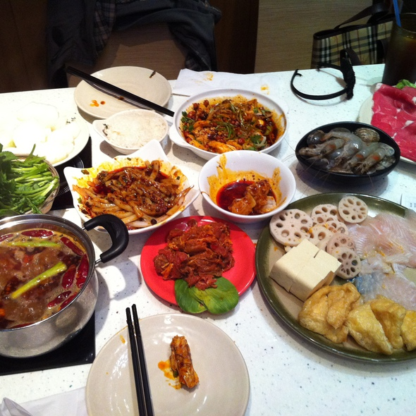 Hot Pot Platter, Wontons in Red Spicy Oil, and Ko Sui Chicken @ Mapo Szechuan