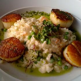 Seared Sea Scallops With Shrimp And Pea Risotto