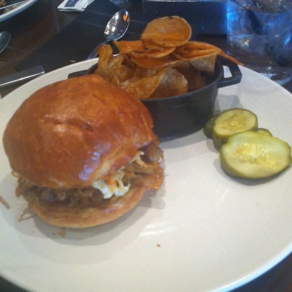 Pulled Berkshire Pork With Homemade Chips Horseradish Pickles And Slaw - Q Kitchen Bar - Hyatt Regency, San Antonio, TX