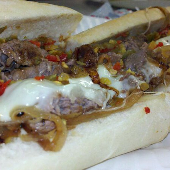 Cheesesteak W/Provolone, Hot Peppers, Fried Onions @ White House Sub Shop