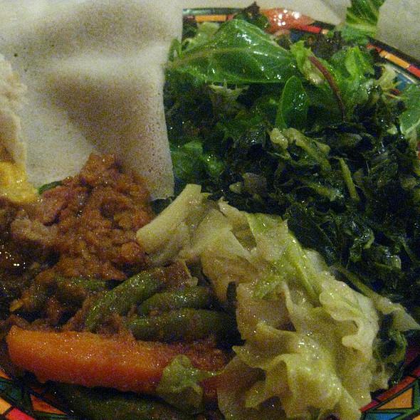 Meat, Lentils and Injera Bread - Ethiopian Diamond, Chicago, IL