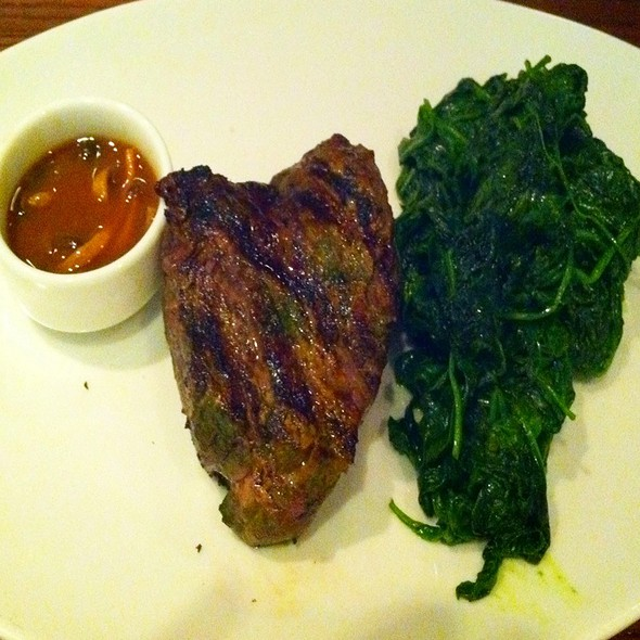 Filet Steak & Sauteed Spinach - E&E Grill House, New York, NY