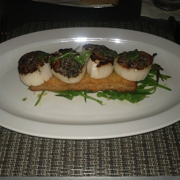 Scallops with Rosemary and Scallions on Polenta Hash Brown @ Boulud Sud