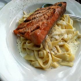 Chevre Alfredo Pasta With Grilled Salmon