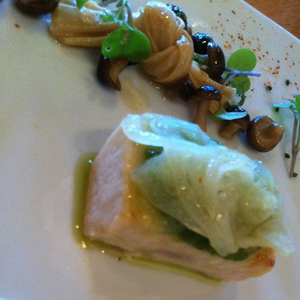 Swordfish Belly With Yuba Knot,Hon Shimeji Mushrooms,Spring Onion And Tofu Puree