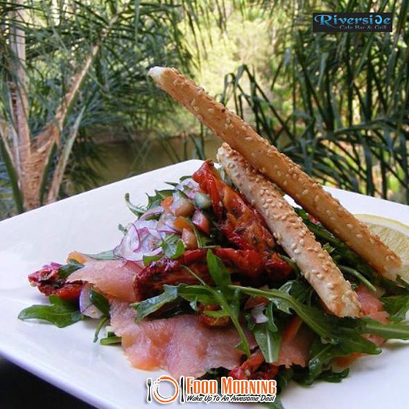 Salmon salad @ Riverside Cafe Bar & Grill