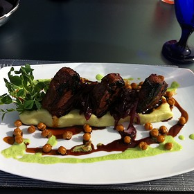 Miso Glazed Lamb Chops, Wasabi Mash Potatoes, Green Pea Puree And Fried Chickpeas.