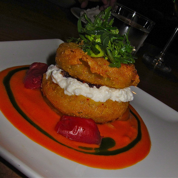 fried green tomatoes, goat cheese, basil oil sweet red pepper aioli @ Txoko