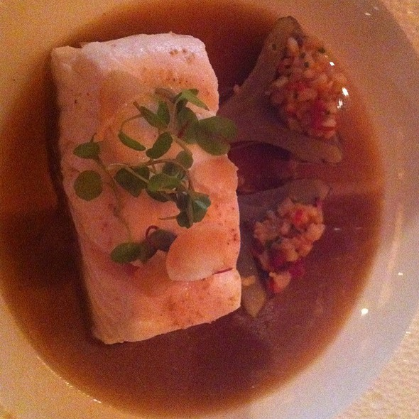 Poached Halibut, Braised Artichoke Chestnuts And Bacon With Persian Lime Scented Truffle Broth