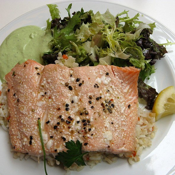 Fillet of Salmon with Basil Dip @ Paparazzi Restaurant