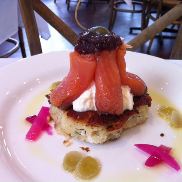 Feta Potato Cake, Smoked Salmon, Crème Fraîche, Red Wine 21 Onion ...