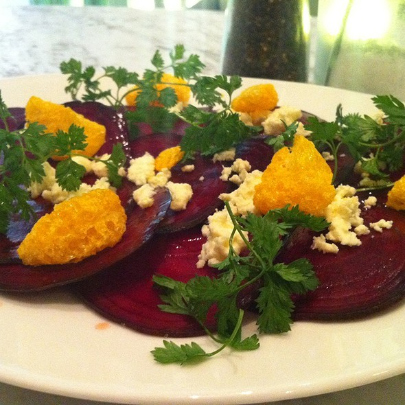 Beetroot Carpaccio With Freeze Dried Mandarins And Fresh Chevril @ Organic Char