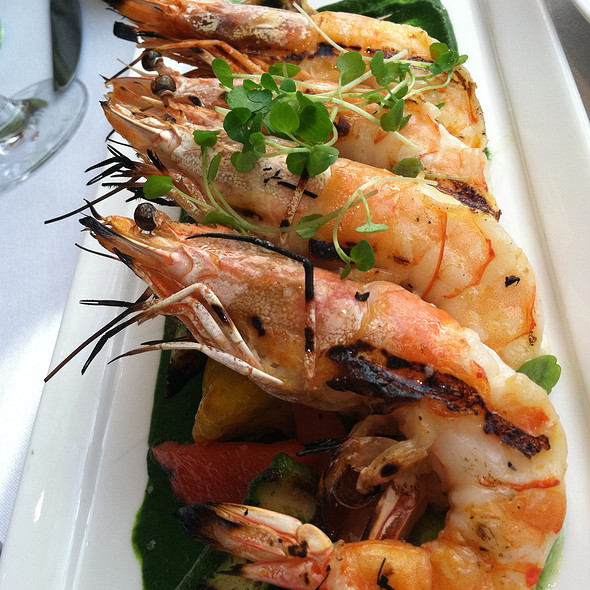 Grilled Blue Shrimp au Pistou Spring Vegetables  @ Boulud Sud
