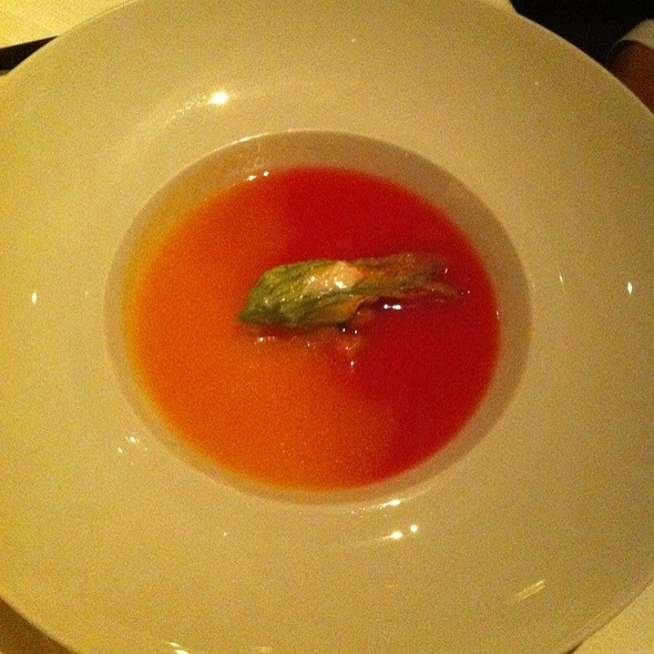 Chilled Tomato Soup With Fried Squash Blossom, Burrata And Olives @ Quince Restaurant