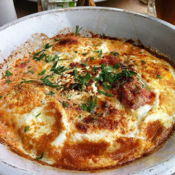 Roasted Tomatoes And Eggs With Polenta And Ricotta @ Five Points