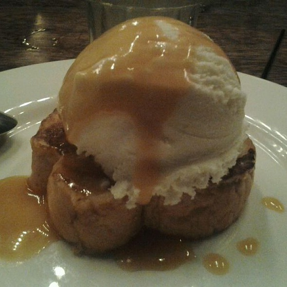 Hazelnut French Toast Topped with Coconut Ice Cream and Coconut Milk Caramel  @ Mercury Lounge