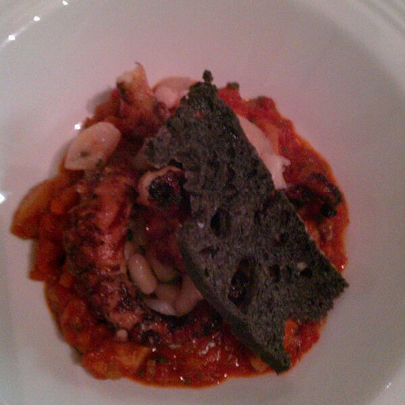 Warm Tondini Beans With Smoked Razor Clams, Charred Octopus, Sepia, And Ink Toast  @ The James Beard Foundation
