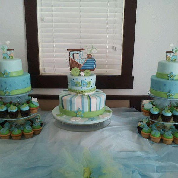 Train Baby Shower Cake Part - 17: Baby Shower Cake And Cupcakes Train Theme