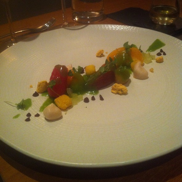 Heirloom Tomato, Cucumber, Goat Cheese, Red Wine, & Olive Crumble @ Atelier Crenn