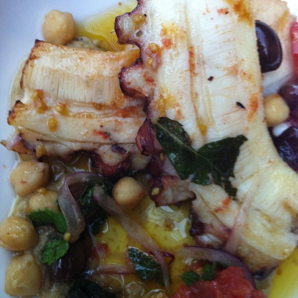 Octopus Grilled With Roated Eggplant Hummus - Sofia Vineria, Montreal, QC