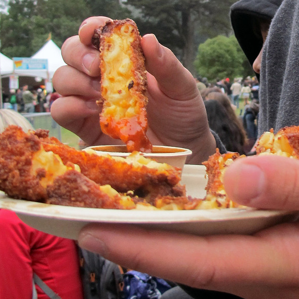 crispy mac and cheese with herb tomato vinaigerette @ Outside Lands Festival
