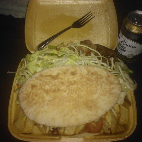 Chicken and Doner Meat with Chips, salad and pitta bread @ Shires chippy