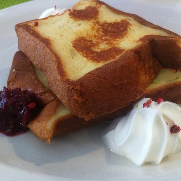 Malted Custard French Toast With Citrus Cream, Cherries, Pink Peppercorns @ Jam