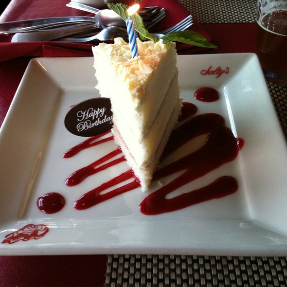 White Chocolate Mousse Cake - Salty's at Redondo Beach, Des Moines, WA