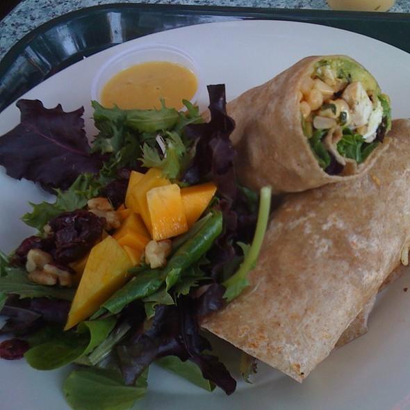 Chicken Avocado Tortilla Rollup & mango walnut organic greens salad @ Aqui Cal-Mex