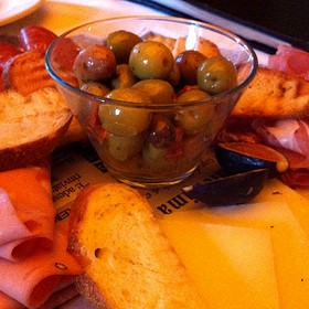 Italian Cheese And Cold Cut Platter With Siscilian Olives