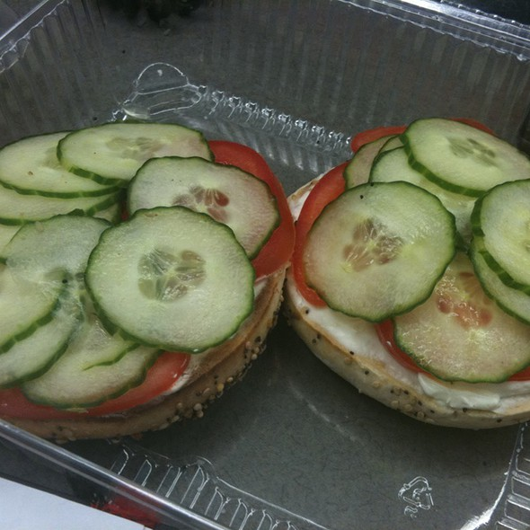 The Works - Whole Wheat Bagel With Lox, Cucumber-Dill Cream Cheese @ Taste Cafe & Marketplace