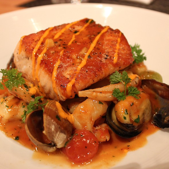 Sautéed Pacific Salmon; Seafood Bouillabaisse, Red Pepper Rouille, Saffron @ Wolfgang Puck Bar & Grill