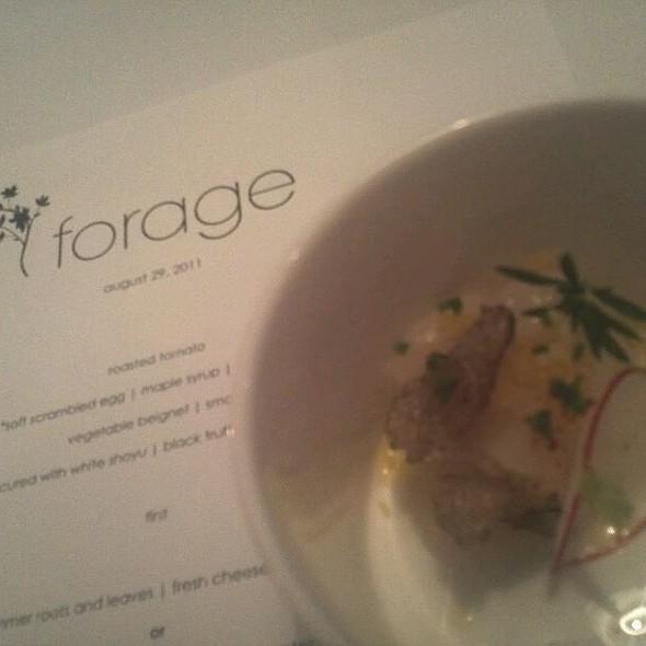 Scallop Cured With White Shoyu / Black Truffle / Preserved Lemon @ Forage Restaurant