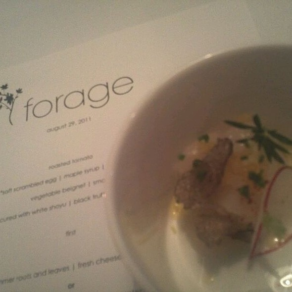 Scallop Cured With White Shoyu / Black Truffle / Preserved Lemon @ Forage Restaurant