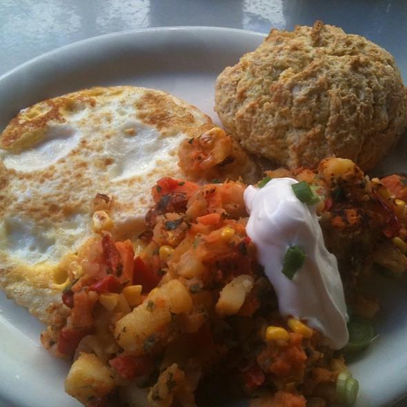 Vegetarian Hash, Eggs, And Scone @ Rick & Ann's Restaurant