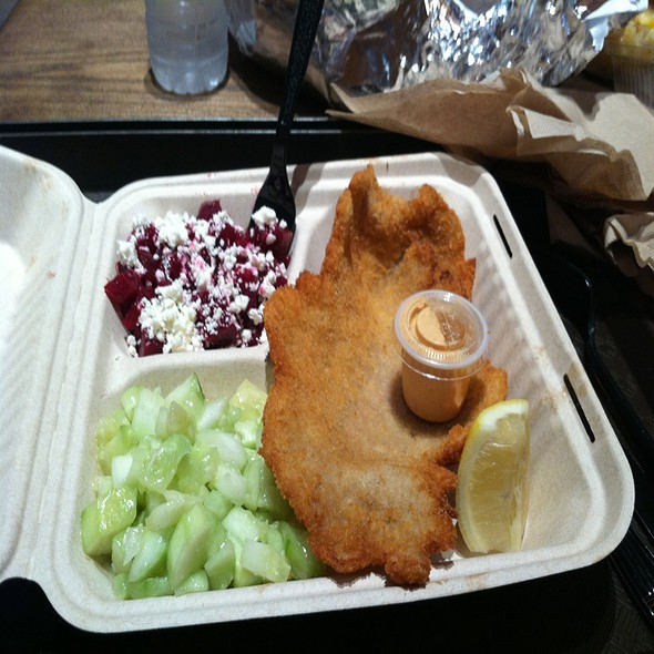 Pork Schnitzel With Cucumber And Beet Salads