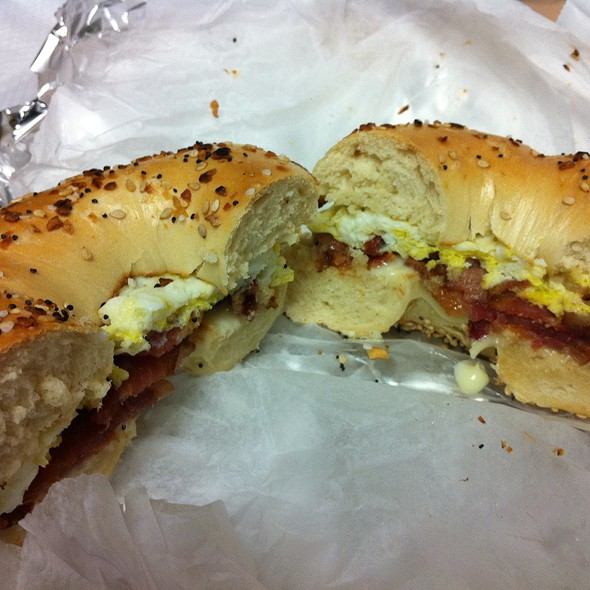 Bacon, egg, and cheese on an everything bagel @ Liz Sue Bagels