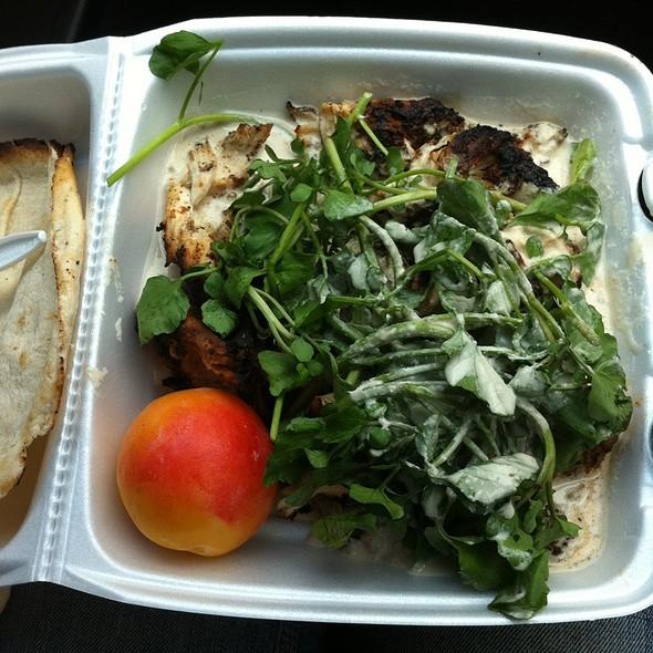 Chicken and falafel platter at falafel cart in philadelphia pa